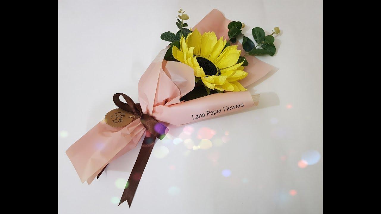 Bouquet With Just One Sunflower -  Craft Tutorial - Bó Hoa Hướng Dương Một Bông