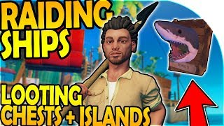 RAIDING SHIPS + CHEST LOOTING on ISLANDS - SHARK TROPHY ( Raft Survival Gameplay Part 3 )