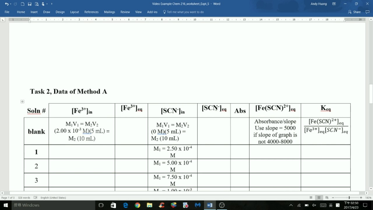 CHEM 216 Experiment 5 Chemical Equilibrium Measuring an – Equilibrium Constant Worksheet
