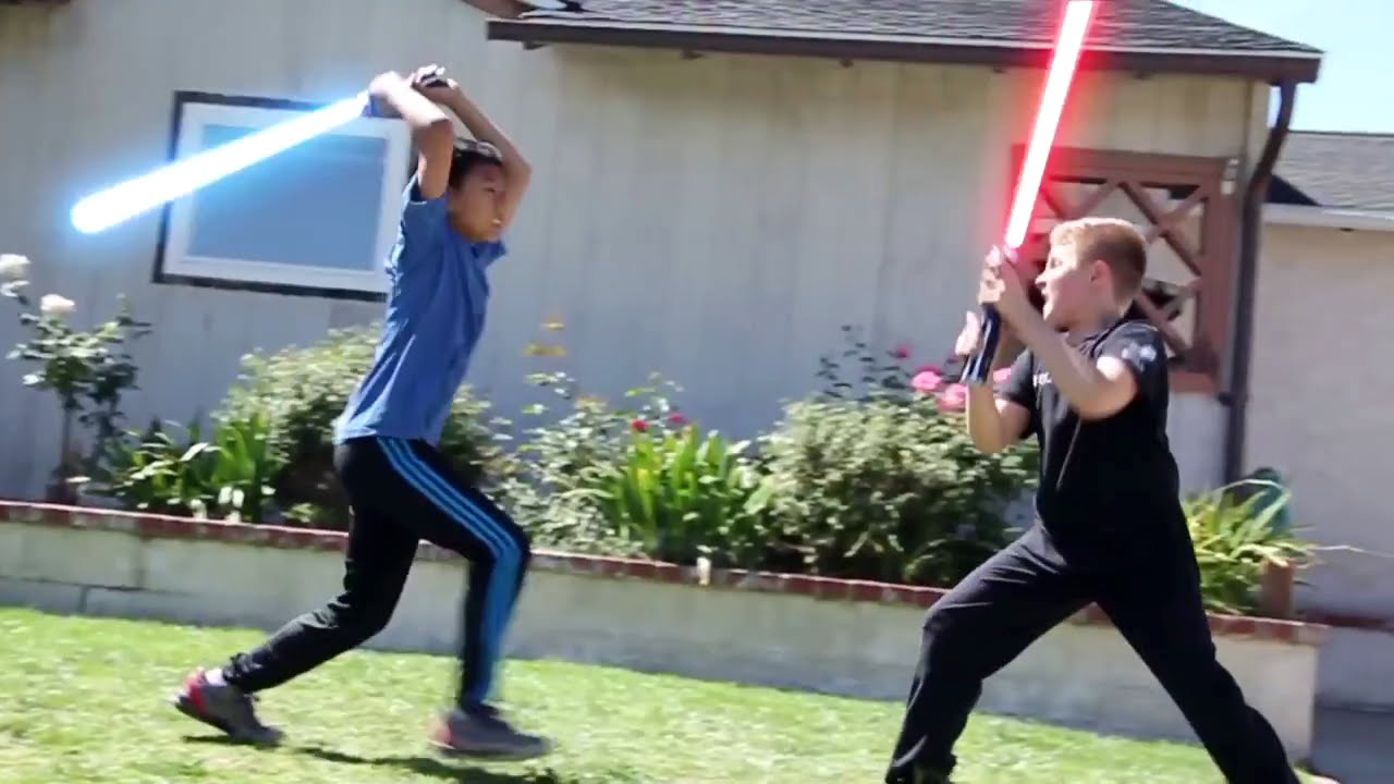 How Kids Play Star Wars Sword Battle Light Sabers Darth