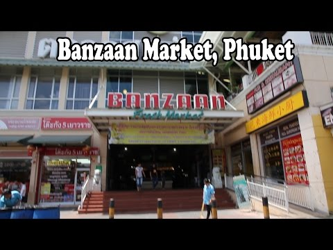 Thai Food Market in Patong Phuket Thailand. A Walk Around Banzaan Market: Cheap Food Shopping