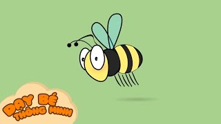 Bé tập vẽ tranh con vật | Hướng dẫn học vẽ con ong bằng bút chì | Dạy bé thông minh