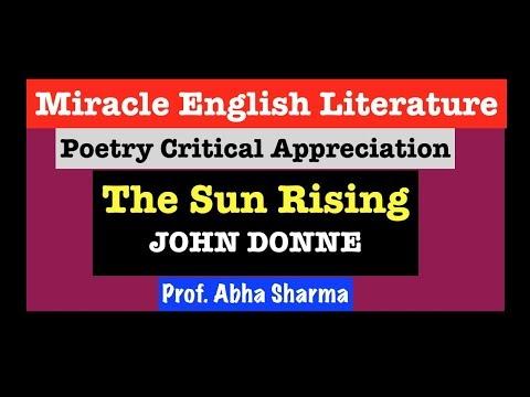 Poetry Critical Appreciation : The Sun Rising, JOHN DONNE, UGC/NET/JRF/MA/BA