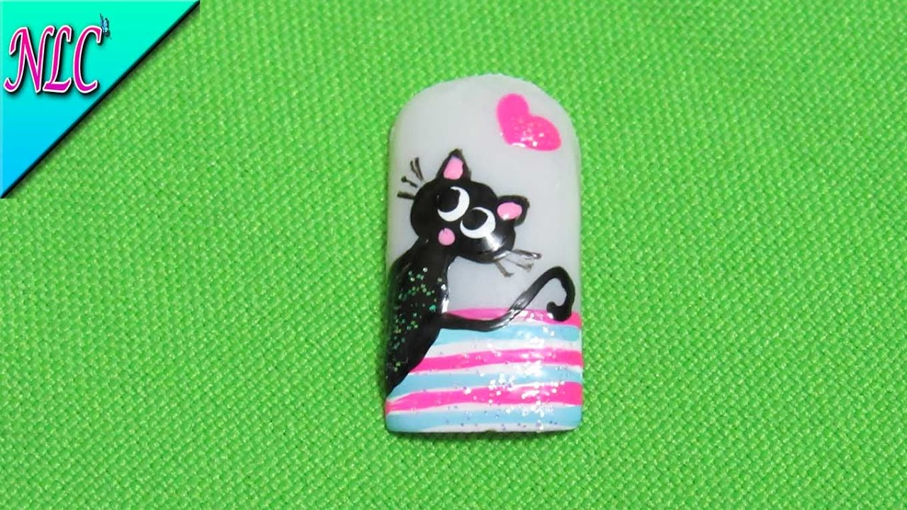 DECORACIÓN DE UÑAS GATO♥ - CAT nail art♥ - GATO fácil de realizar ...