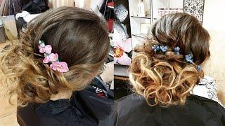 Curly wedding prom hairstyle for long hair. Свадебная прическа, прическа на выпускной(Подписывайтесь на канал, чтобы не пропустить новые видео ;) https://www.youtube.com/user/sniganka?sub_confirmation=1 Давайте дружить!..., 2015-04-20T21:53:19.000Z)