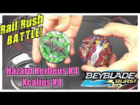 HAZARD KERBEUS K4 vs XCALIUS X4!! Beyblade Burst Turbo SlingShock Battle | Rail Rush BeyStadium