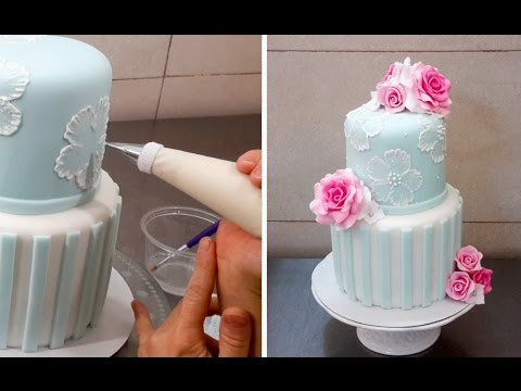 Brush Embroidery Cake With Royal Icing By Cakes Stepbystep