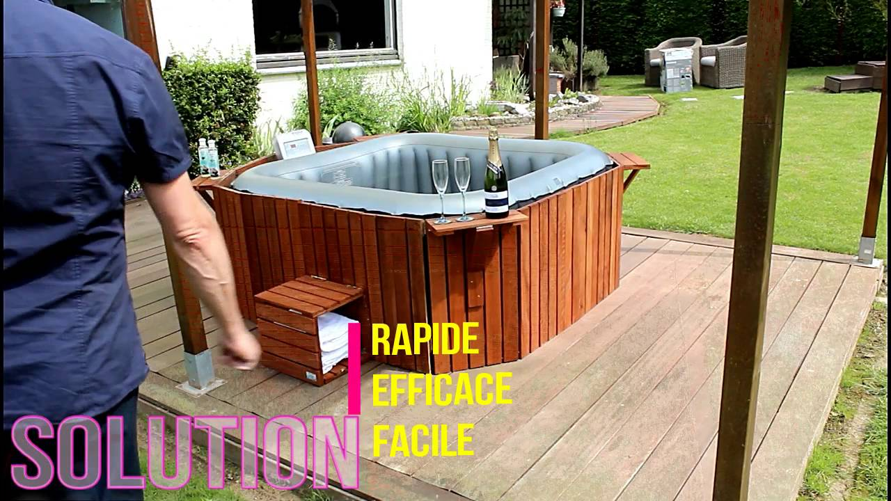 Installer Spa Gonflable Exterieur jacuzzi contour habillage