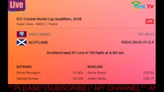 LIVE SCOURE WEST INDIES VS SCOTLAND ICC Cricket World Cup Qualifiers, 2018 Video
