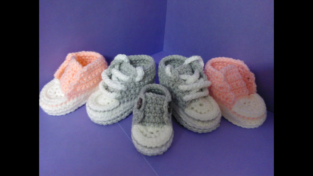 How To Crochet My Easy New Born Baby Converse Style Slippers P5 With