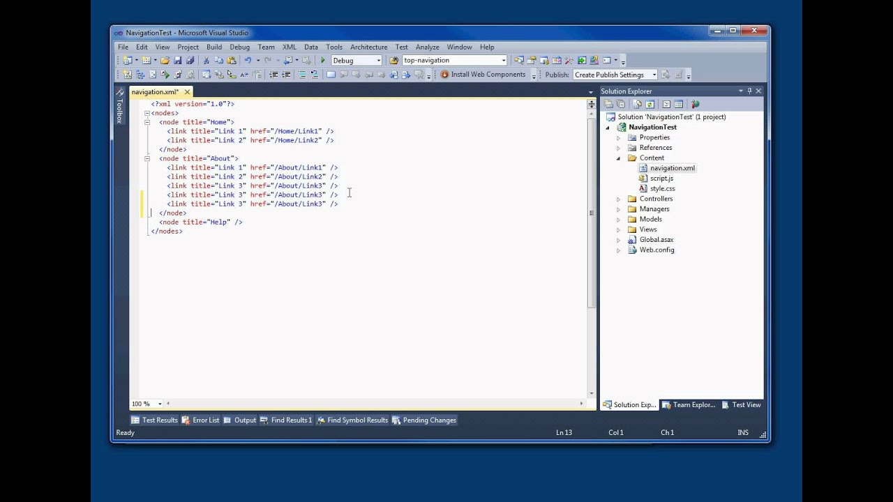 Loading Web Navigation from XML with MVC3 Partial Views, C#  NET