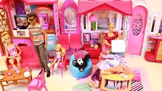 Barbie morning routine, barbie gets grounded and sneaks out at night, barbie soccer player routine