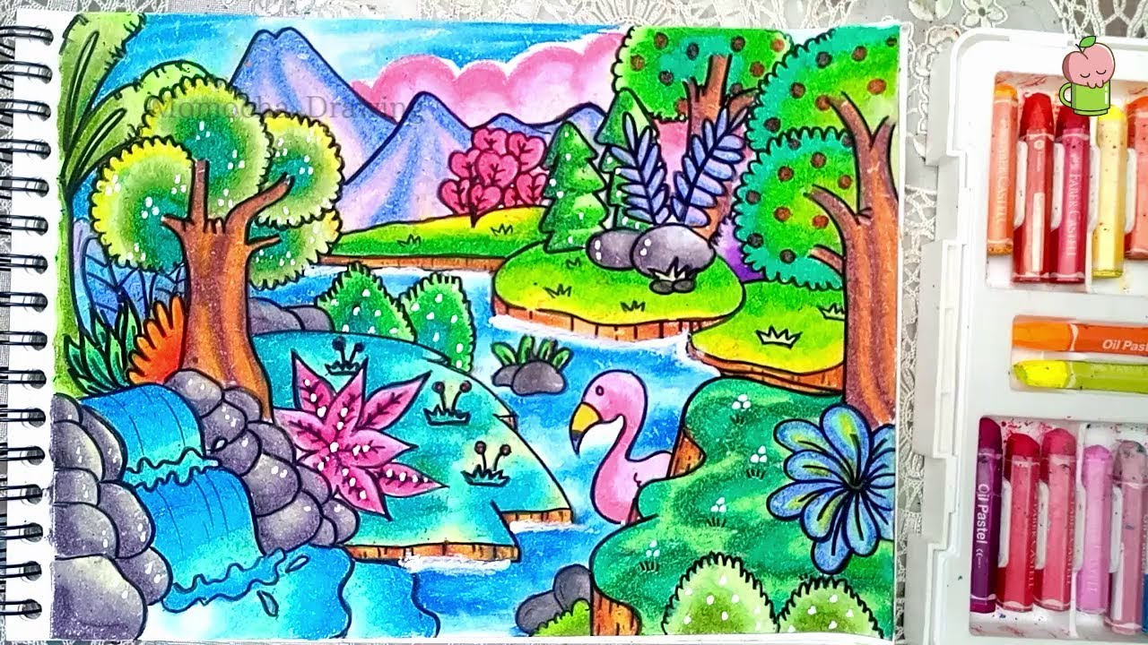 How To Draw Scenery Of Forest With Oil Pastel Step By Step For Kids