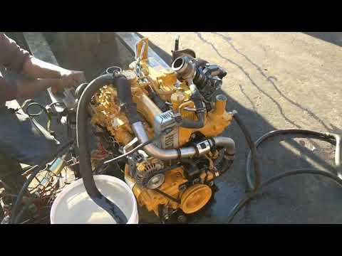 Caterpillar C3.3B engine rebuild, test run.