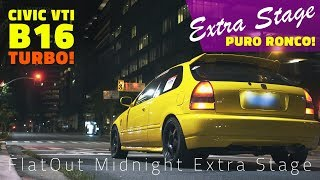 [PURE SOUND] HONDA CIVIC VTI EK4 B16 TURBO!!  FlatOut Midnight Extra Stage