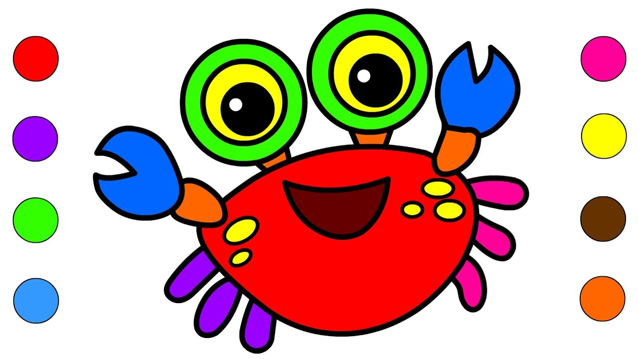 Learn Colors With CRAB Coloring pages For kids Children Toddlers ...