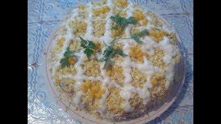 Салат слоеный с ананасом и курицей, очень вкусный