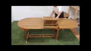 Teak 120in Double Extension Leaf Table & Pacific Chair Sets