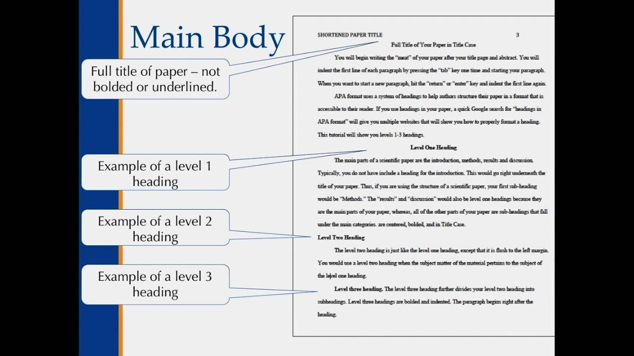 apa format body of paper