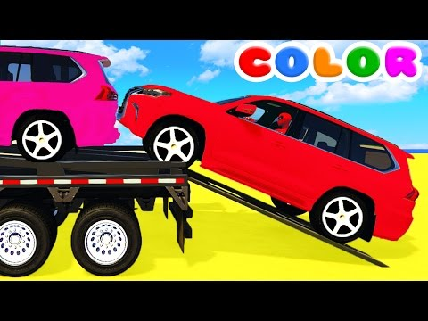 Thumbnail: COLOR SUV CARS Transportation and Spiderman Cartoon for babies w Bus Superheroes for kids!