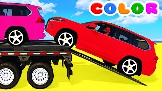 color suv cars transportation and spiderman cartoon for babies w bus superheroes for kids