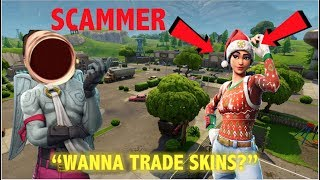 "Fortnite Scammer Tries To ""Trade Skins"" But I Troll Him! (Fortnite Battle Royale)"