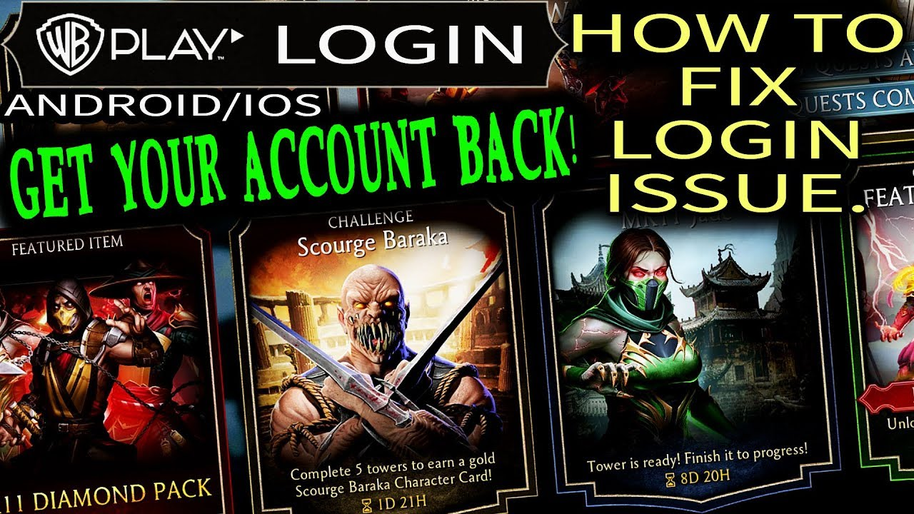 Mortal Kombat Mobile  Login Issue Solved  How To Get Your Account Back in  MK Mobile Update 2 0