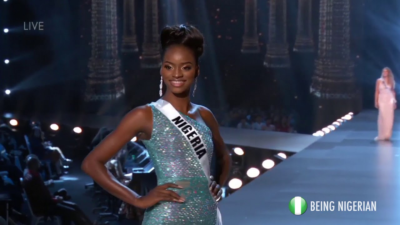 Miss Universe Nigeria Aramide Lopez competes in evening gown