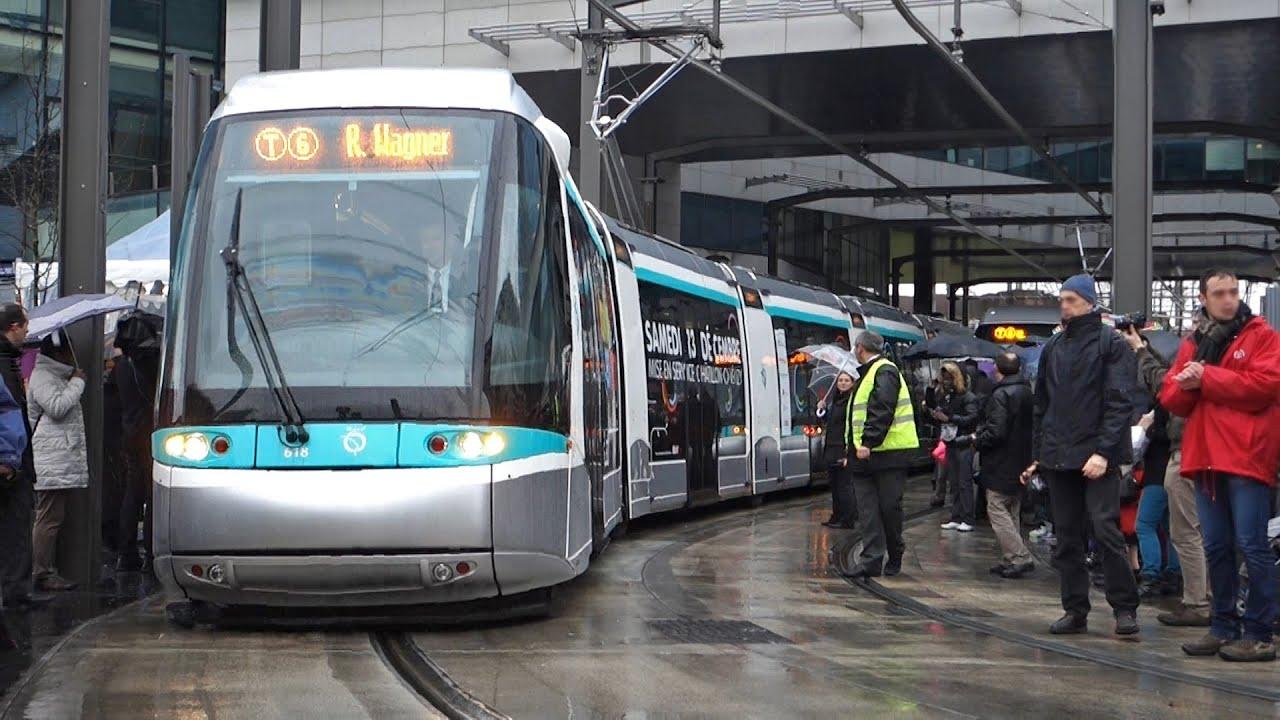 Tramway de paris ligne t6 inauguration sous la pluie - Paris gare de lyon porte de versailles ...