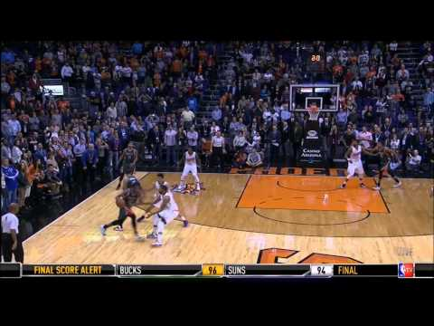 Khris Middleton buzzer beating 3 over Phoenix (12-15-14)