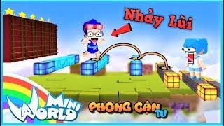 Mini World: cùng Huy Noob thử thách parkour bằng cách nhảy lùi không nhìn phía trước | Phong Cận Tv