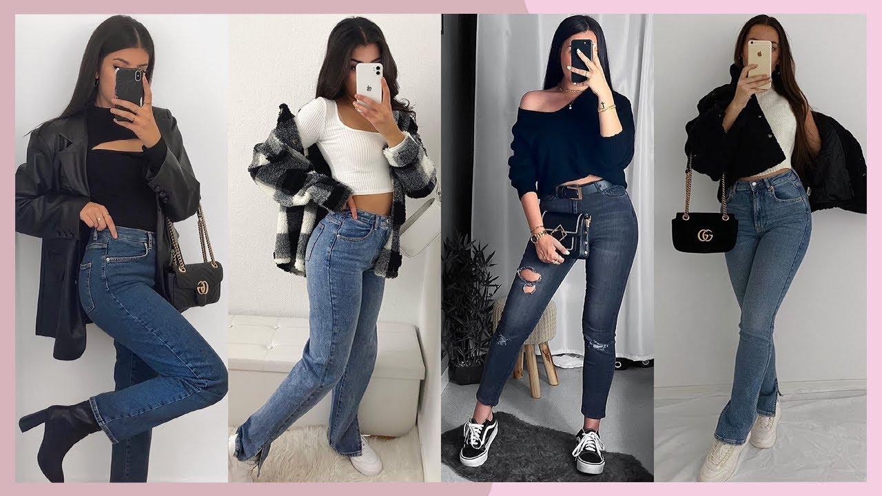 Outfits Con Jeans 2021 Looks Con Pantalones De Mezclilla Moda Otono Invierno 2020 Mujer Youtube