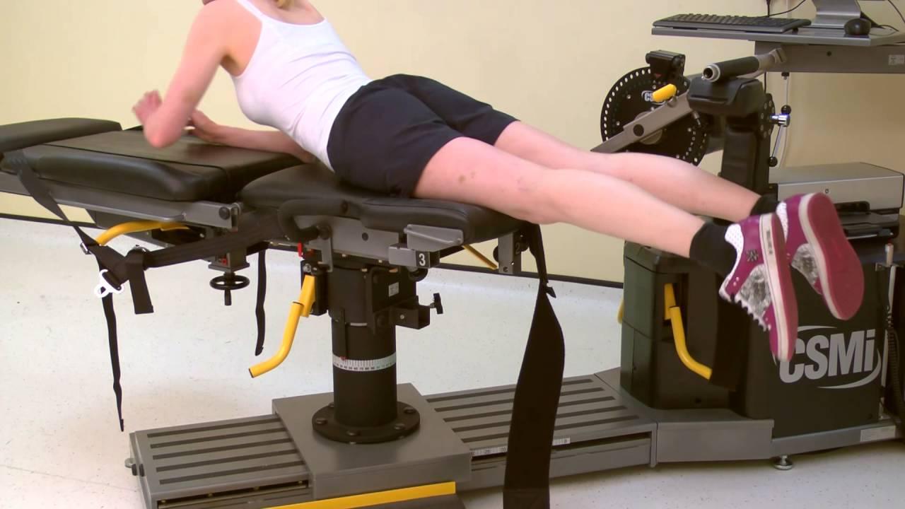 Knee prone flexion eccentric hamstrings setup Isokinetic Humac or Cybex Norm