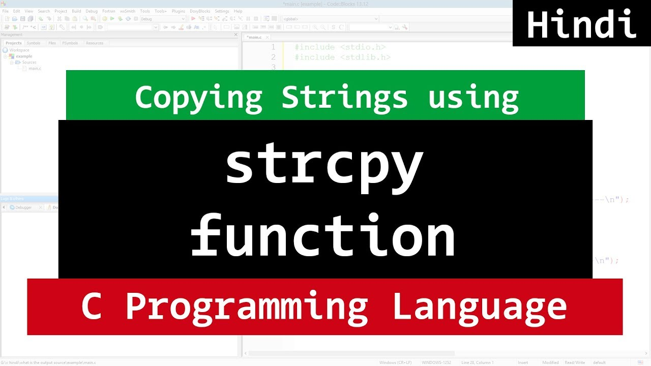 C String Copy using strcpy Function   Video tutorial in ...