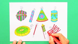 How to draw and color Diwali Firecrackers