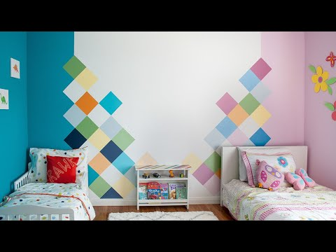 how-to-paint-a-geometric-colorful-accent-wall-for-a-kids-room
