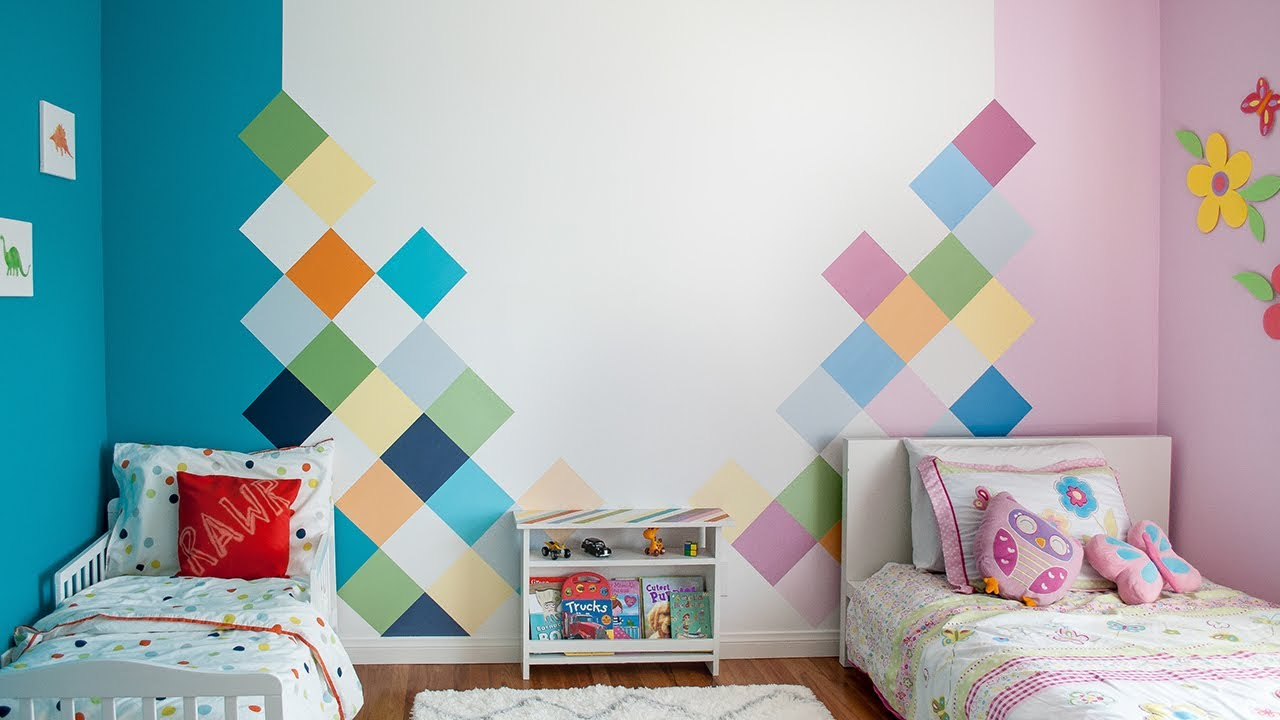 How to paint a geometric colorful accent wall for a Kids room