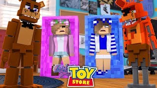 Minecraft TOYS - LITTLE KELLY AND LITTLE CARLY TORN APART BY FNAF FREDDY !!!! w/ Sharky