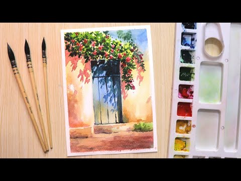 Watercolor painting for beginners beautiful flower tree and simple door