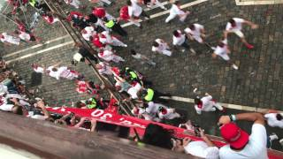 Man Being Brutally Trampled At Running Of The Bulls