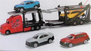 UNBOXING CAR TRUCK TRAILER WITH 4 TOY CARS