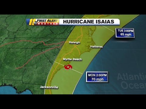 Tropical Storm Isaias on track to impact the Carolinas late Monday ...