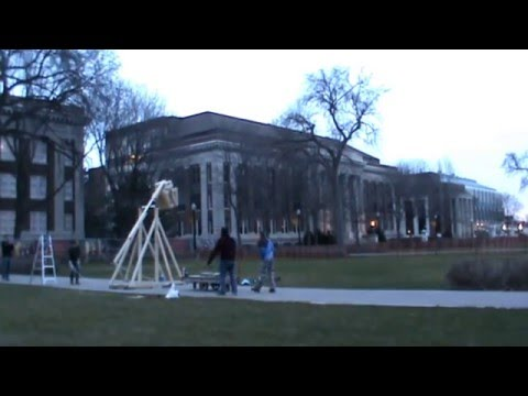 Tesla Works Trebuchet Launch -- Big Pi Day 2016