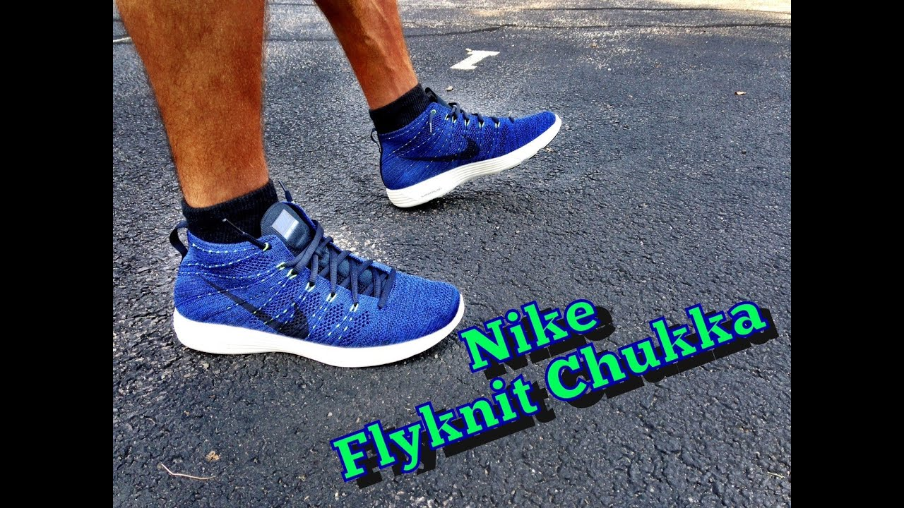 nike lunar flyknit chukka blue review amp on feet youtube