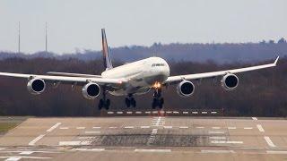 STORM !! Crosswind Landings at Düsseldorf - Airbus A380, A340, Boeing 777, B767 ...