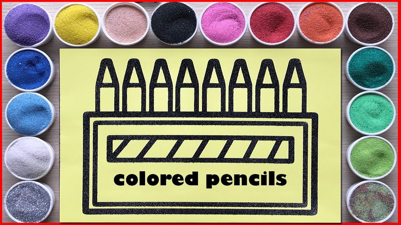 Sand painting colored pencils 7 colours rainbow - Learn colors - Sand art (Chim Xinh channel)