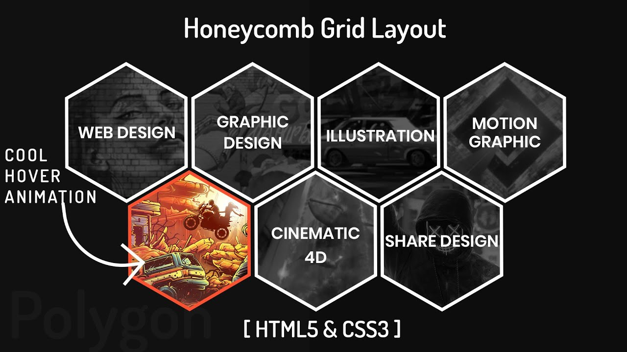 Honeycomb Grid Layout Using Html Css Change Color Image Hover