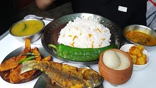 fried fish and sabji eating with rice (delicious village food)