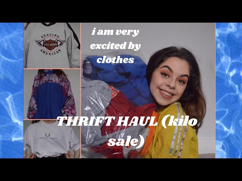 huge try on thrift haul - vintage kilo sale | abby thomas
