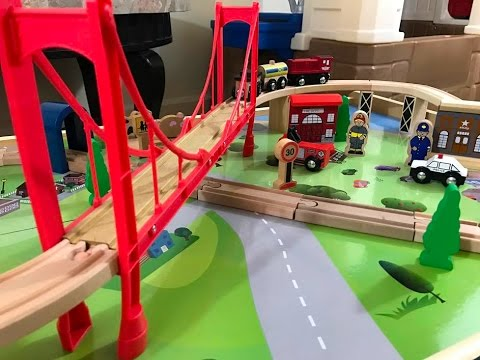 Wooden 50 Piece Train Set With Table